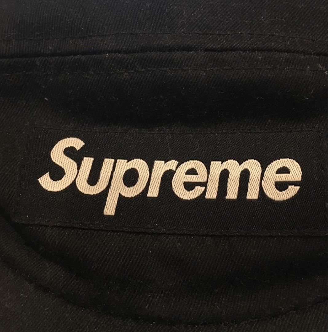Supreme 5-panel camper cap with leather strap (2015) Black on Black