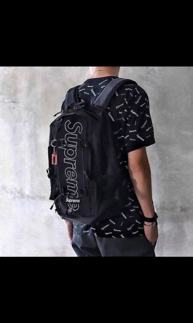 8be162a3 SUPREME FW18 BACKPACK - BLACK, Men's Fashion, Bags & Wallets ...