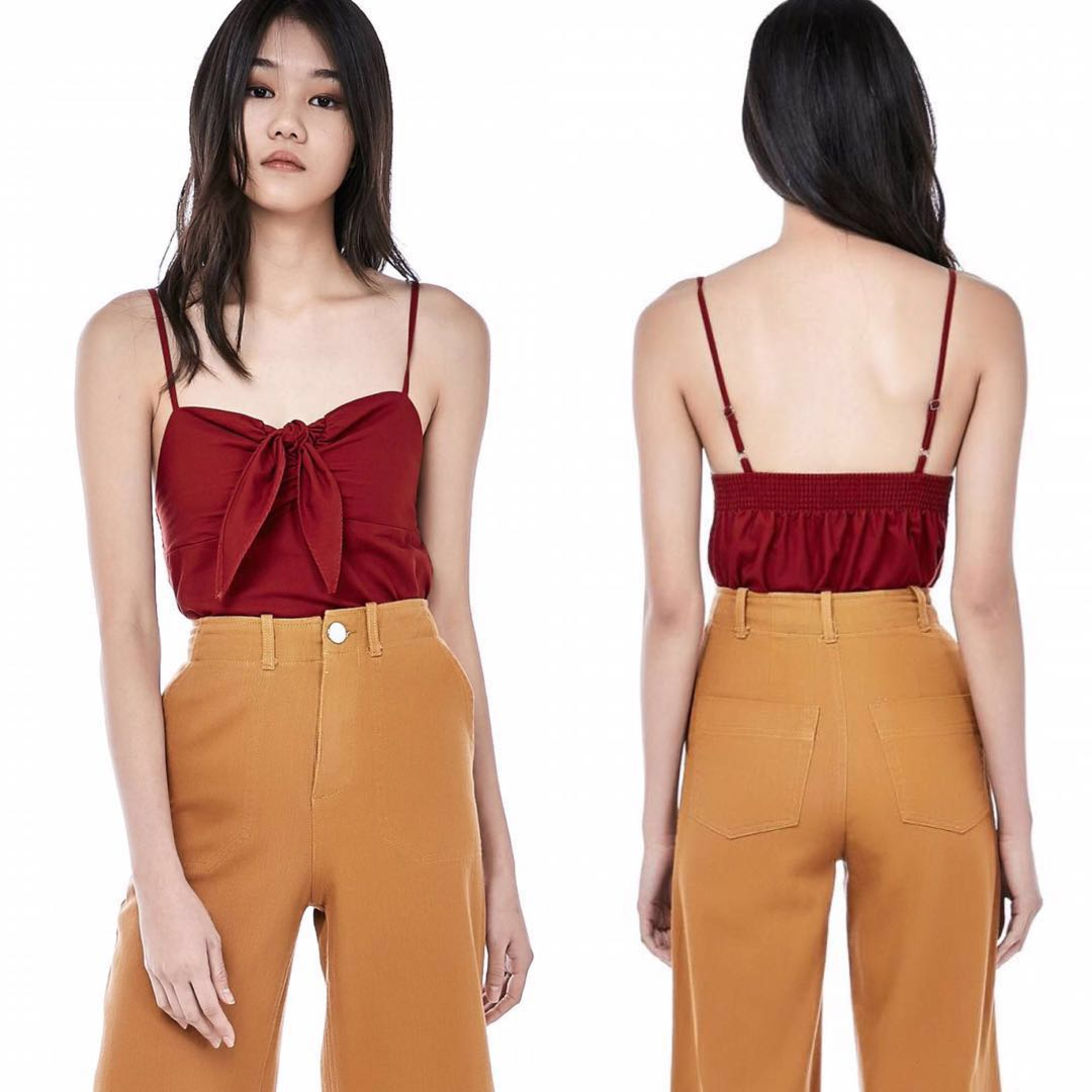 c109118527fe27 The Editor's Market TEM Meara Front-Tie Crop Top, Women's Fashion ...