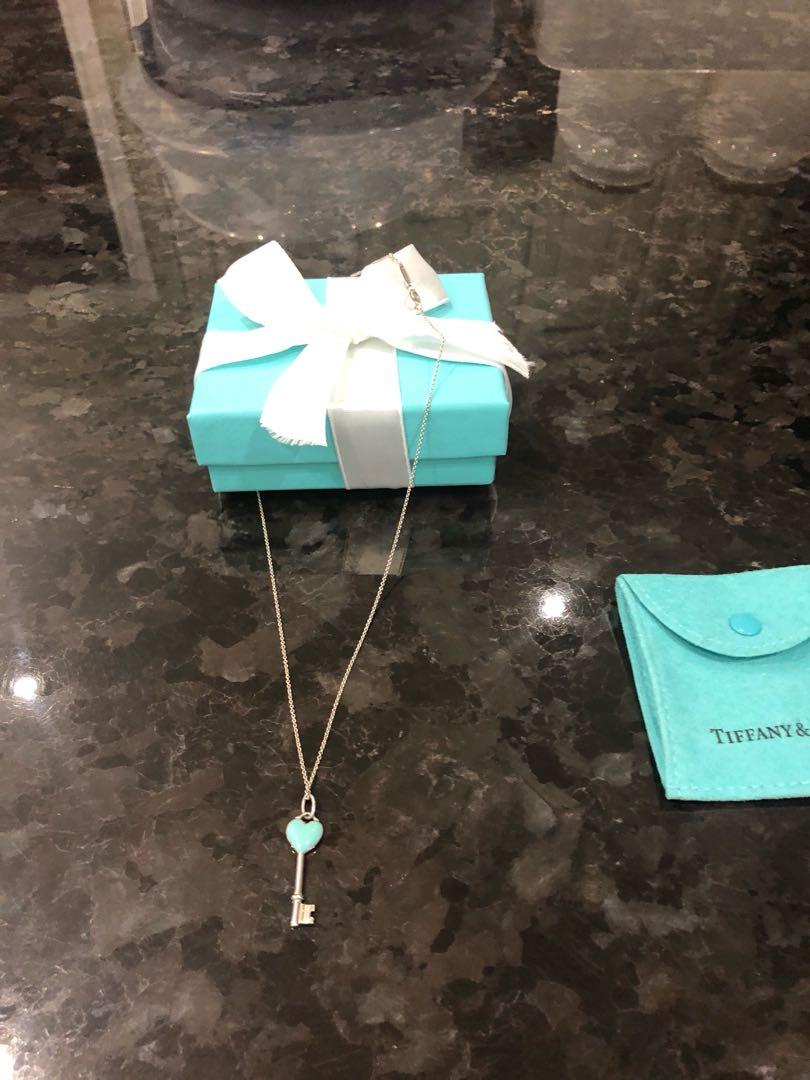 """Tiffany Blue Enamel Key on 18"""" chain. New condition. Price is firm!"""