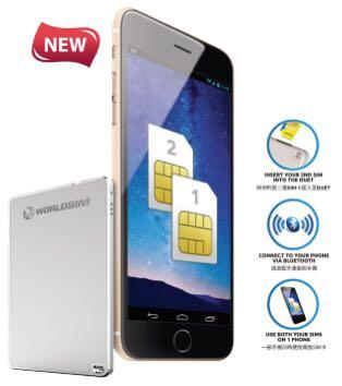 Worldsim Duet Dual Sim Bluetooth Adapter, Mobile Phones