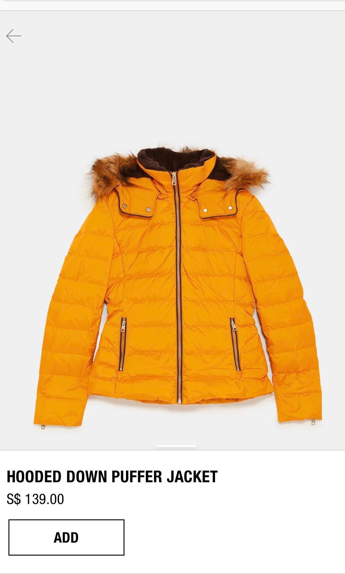 1e9965ce0737 Zara Hooded Down Puffer Jacket (Winter jacket)