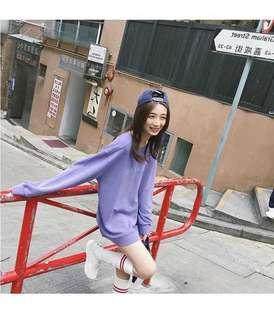 淺紫色寬鬆衛衣XL