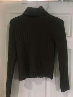 Olive Green Ribbed Turtle Neck