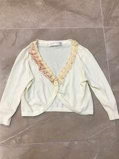 Niccolo Cheraink 淺黃色蕾絲花邊薄身斯文外套 light yellow lace ruffles elegant cardigan