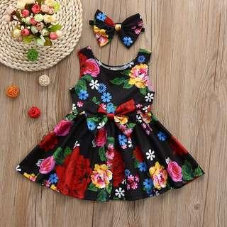 🚚 Floral Dress + Headband