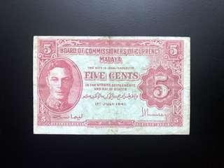 """Scarce Malaya 1941 5 cents """"b & c"""" variety selling Singapore, Malaysia"""