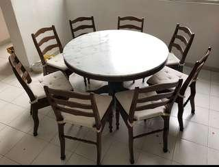 Marble dining table with 8 chairs & rotary server