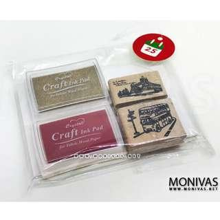 Christmas Gift Set DIY Scrapbook Crafting London Rubber Stamps Ink Pads Kraft Cards Present Set