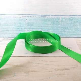 """Per Meter 1/2"""" Green Satin Ribbon"""
