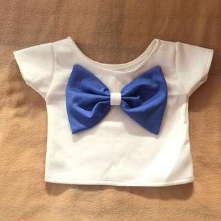 White Top with Blue Ribbon