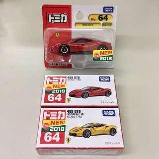 Tomica 64 Ferrari 法拉利 488 GTB 一套三架,紅色吸塑、紅色(箱)、黃色 初回特別仕樣
