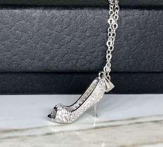 CZ high heel shoe necklace in silver 925