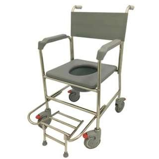 LN Lifeline Stainless Steel Mobile Commode Shower Wheelchair