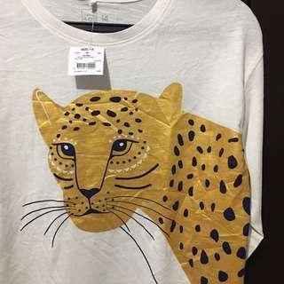 Scoop Slub Leopard Print Long Sleeved Tee