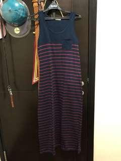 muji striped maxi dress