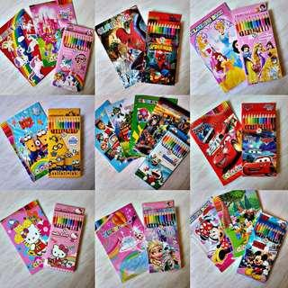 Colour pencil and colouring book with stationery bundle set goodie bag