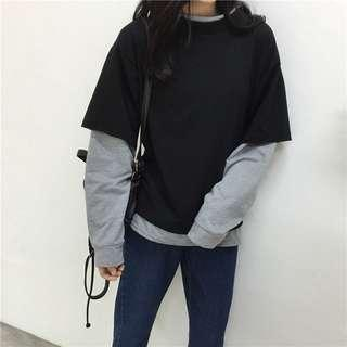 fake sleeves pullover grey and black
