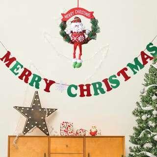 聖誕節 Merry Christmas 拉旗 彩旗 聖誕裝飾 場地裝飾 佈置