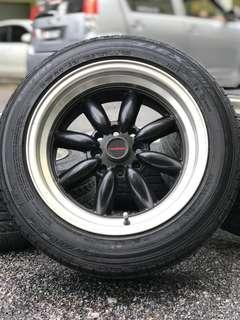 Watanabe 15 inch sports rim waja tyre 70%