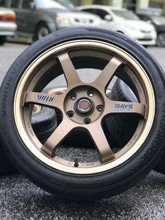 Te37 18 inch sports rim civic fc tyre 70%