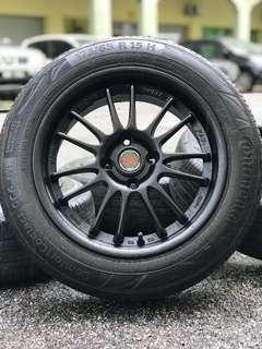 Rays re30 15 inch sports rim jazz tyre 80%
