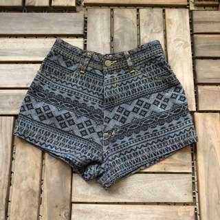 Grey-Printed High Waist Shorts
