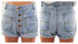 Light Blue Denim High Waisted Shorts
