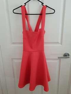 Coral summer skater dress with crossover back BNWT $59! Size 10