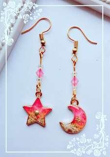 Pink Moon and Star Ocean Earrings