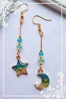 Ocean Moon and Star Earrings