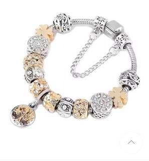 Yr End Sales Vintage Silver Color Charm Bracelet with Tree of life Pendant & Gold Crystal Ball
