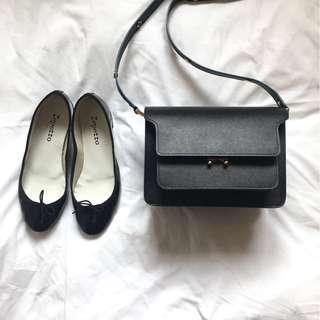 MARNI Trunk Medium Saffiano Bag in Black