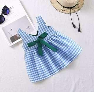 BN Brand New Girl Girls Baby Summer Dress Party CNY Sweet Korean Blue Red Green Bow Ribbon Plaid