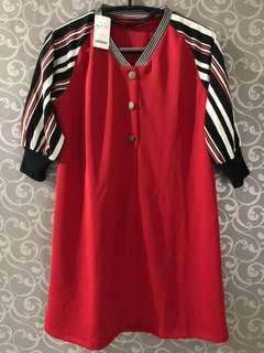 Dress Merah Kancing Depan Bahan Scuba Tebal