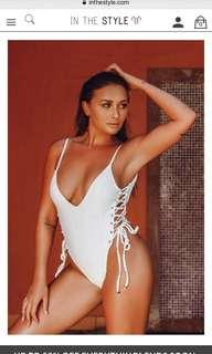 White lace up one piece