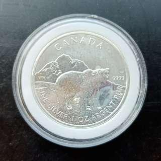 2011 Canadian Grizzly Bear Silver Coin:  1 troy oz (31.1 gram) .9999 of Pure Silver