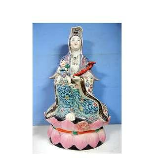 Antique Jingdezhen porcelain Kwan Yin & Child rare fine signed circa 1940 -60
