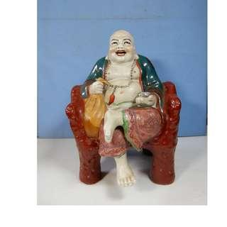 Rare vintage Jingdezhen porcelain Buddha sitting on chair circa 1960s