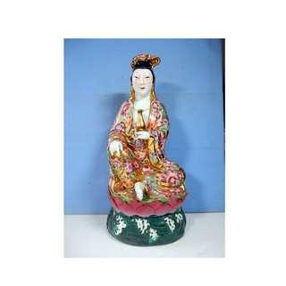 Vintage porcelain statue Kwan Yin Goddess of Mercy with vase circa 1970