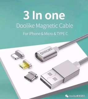 Doolike 3 in 1 magnetic cable