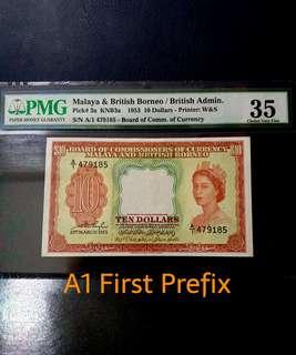 (Reserved)👸 1953 BOCOC Malaya & British Queen Elizabeth II $10 Banknote~A1 First Prefix~PMG 35 Choice Very Fine