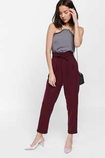Love Bonito Shozanne String Tie Paperbag Cuffed Pants maroon size L