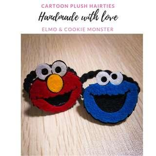 (Ready stocks) Elmo & Cookie Monster hair ties (handmade)
