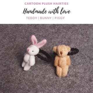 (Ready stocks) teddy, bunny & piggy hairties (handmade)