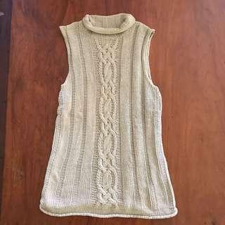 Beige sleeveless knit crochet top