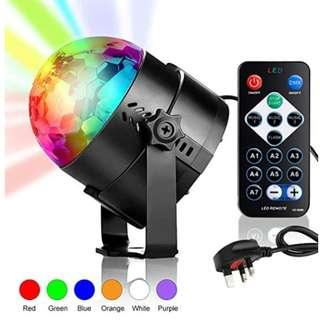 P11 Upgraded 6 Colour Disco Lights, Mini Stage Light Rotating Strobe Light Sound Activated DJ Lights Crystal Magic Disco Ball Light Party Lights with Remote Control and 4-colour Finger Light Toy
