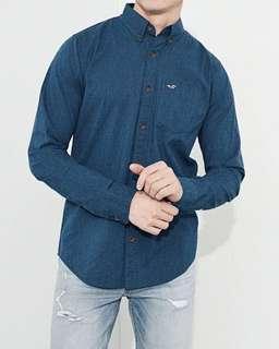 Hollister新款男經典四季款藍色長袖恤衫襯衣HCO men's shirt Abercrombie A&F