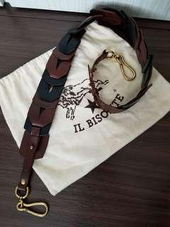 ☆sale☆il bisonte 黑混啡色真皮手袋帶 (Made in Italy)
