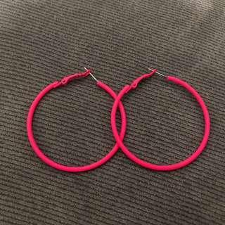 🚚 螢光閃閃粉紅圈圈耳環